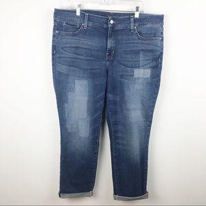 NYDJ Boyfriend Jeans Size 16 Patch Emroidery Pants